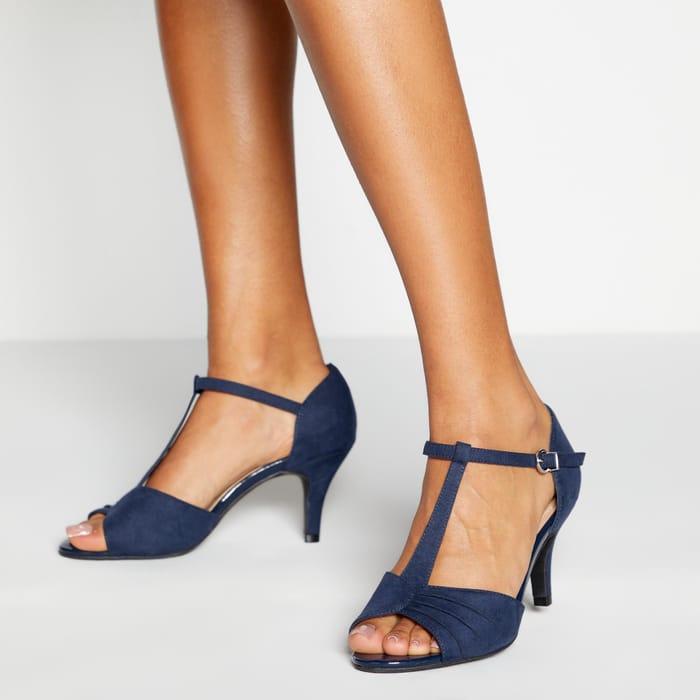 Navy Blue Faux Suede 'Garland' Stiletto Heel Wide Fit Sandals