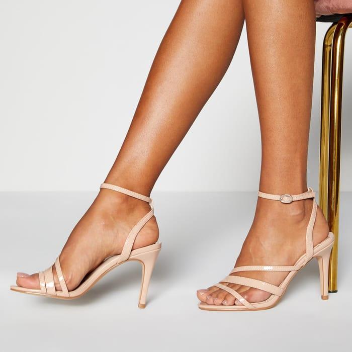 Faith - Natural Ankle Strap 'Dellie' High Stiletto Heel Sandals