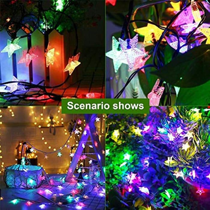 Solar Powered LED Star String Fairy Lights