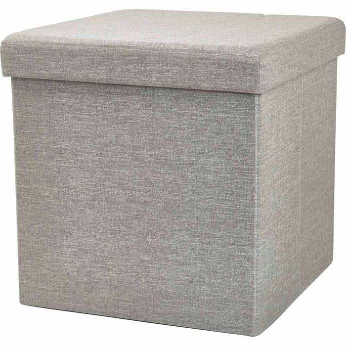 Wilko Grey Faux Linen Cube Ottoman