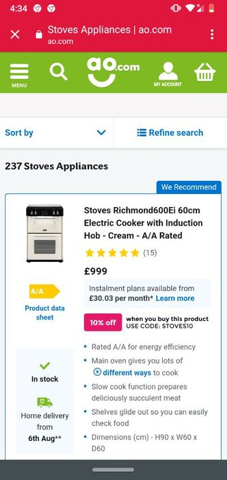 10% off Stoves Large Cooking Appliance Buys