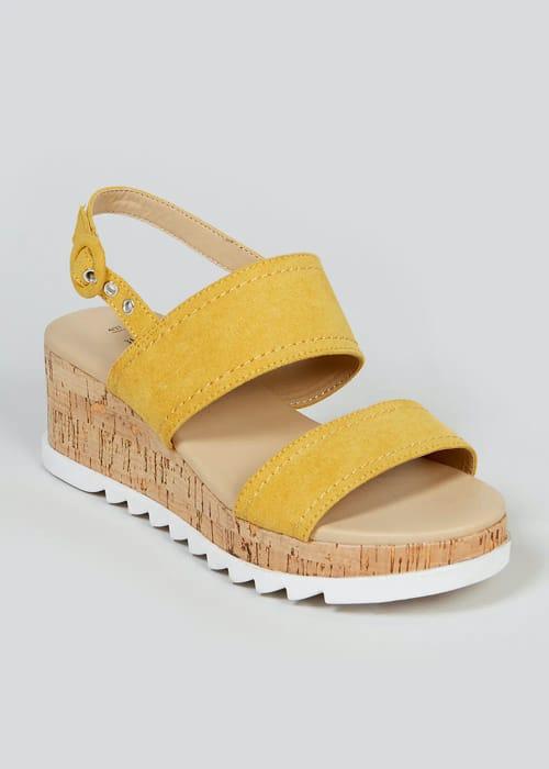 Women's Soleflex Mustard Cork Wedge Sandals