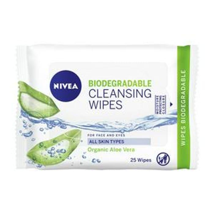 NIVEA Biodegradable Cleansing Wipes Organic Aloe Vera 25 Wipes
