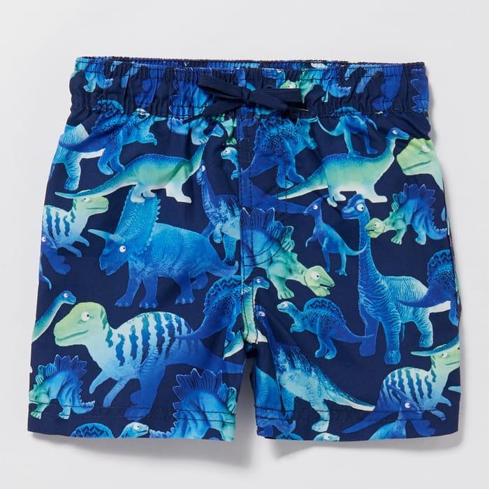 Bluezoo - Boys' Blue Dinosaur Print Swim Shorts