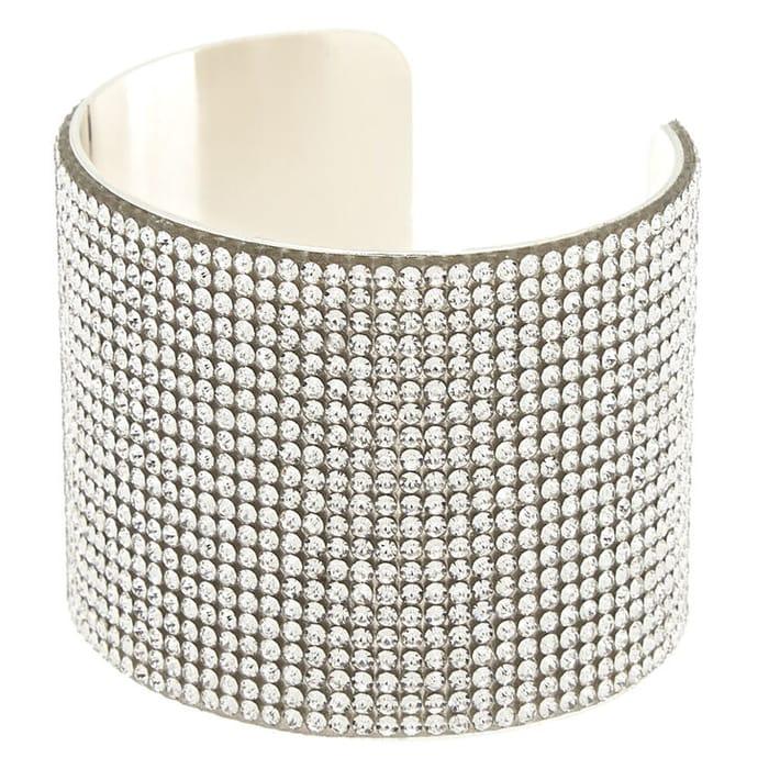 Silver Rhinestone Wide Cuff Bracelet