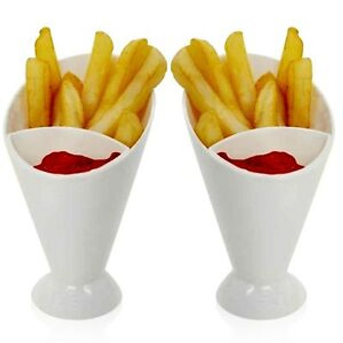 CHEAP! 6 X Chip Fries & Ketchup Dipper Cones 2 Section Snack Sauce Holder Stand