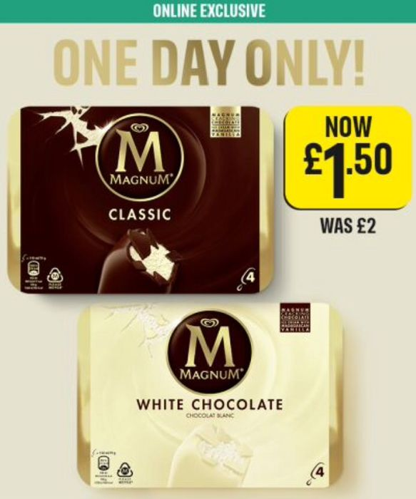 4 Magnum Chocolate / White Chocolate Ice Creams - £1.50 (1 Day Online Only)