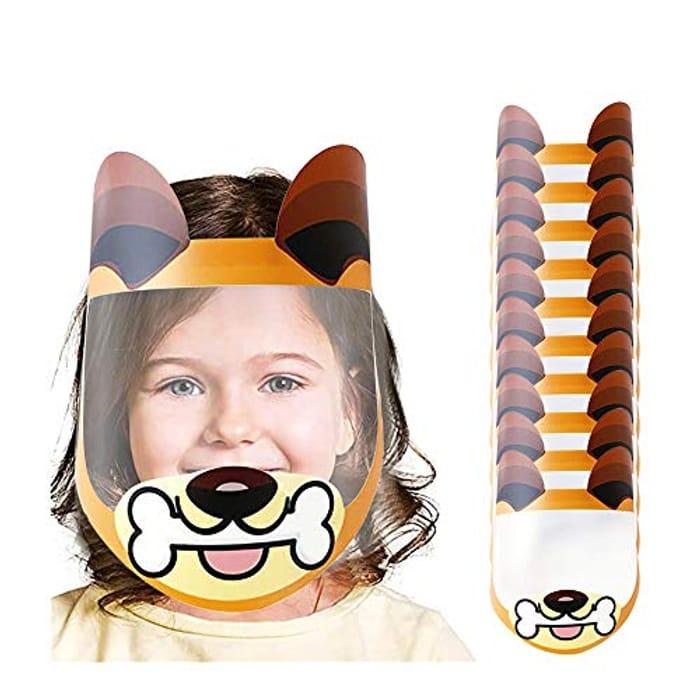 10 X Cute Cartoon Face Shields for Kids