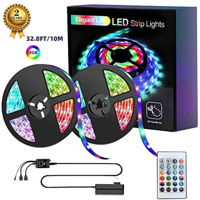 2 X 16.4ft (32.8ft) LED RGB Strip Lights W/Remote Control and Power Supply