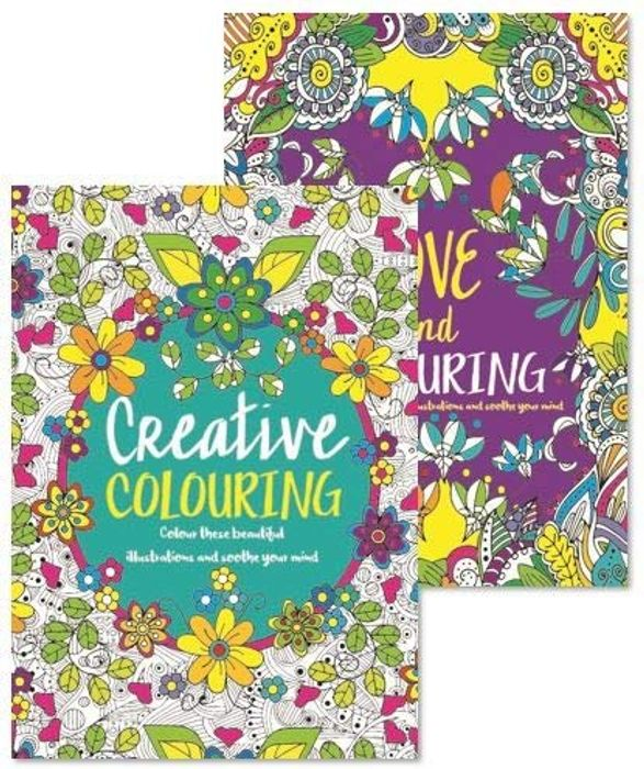 Adult Colouring Books - Set of 2 - Anti-Stress - Colour Therapy Patterns