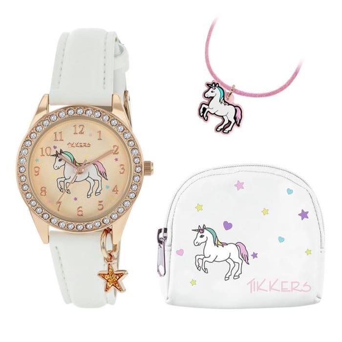 Tikkers Children's Unicorn Watch, Necklace & Purse Gift Set
