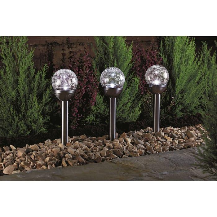 Solar LED Crackle Ball Stake
