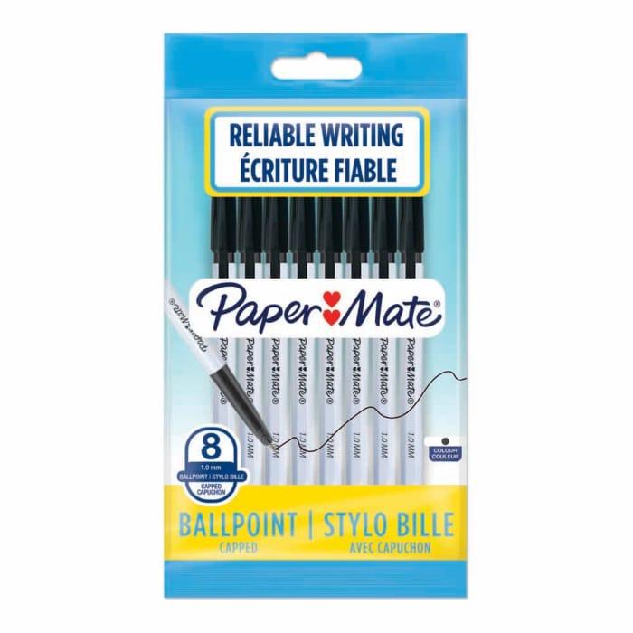 Papermate Ballpoint Black Pen - 8 Pack