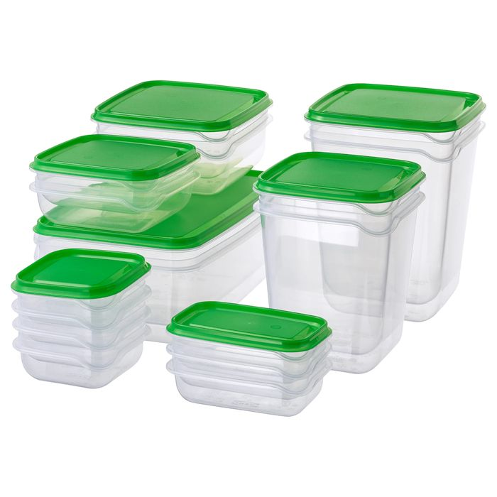 PRUTA Food Container, Set of 17, Transparent, Green - Only £4!