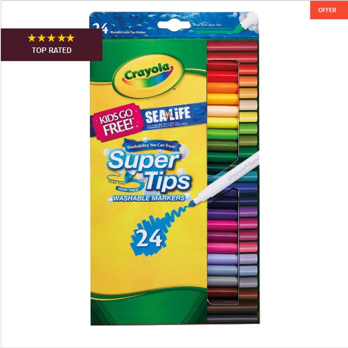 Crayola Supertips Washable Markers 24 Pack HALF PRICE