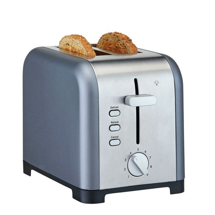 Cookworks Metal Bullet 2 Slice Toaster - Grey / Cream (free Click & Collect)