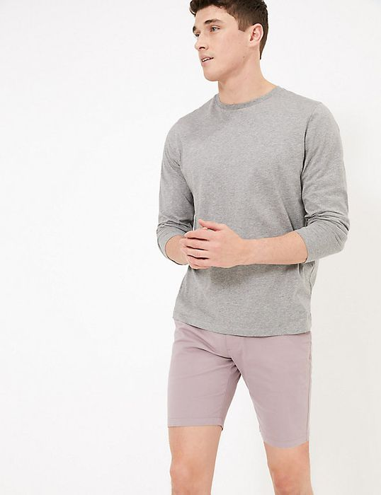 M&S Men's Stretch Chino Shorts in Lilac - £5 with Free C&C