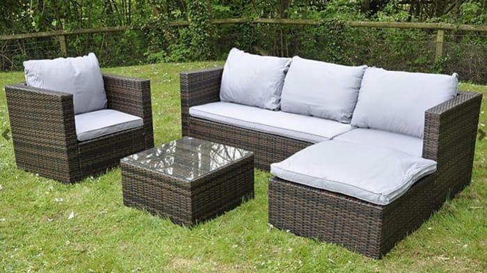 5-Seater Modular Corner Rattan Sofa Set with Cushions