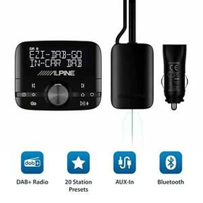 Alpine EZI DAB GO In-Car DAB+ Digital Radio Adaptor & Bluetooth Music Streaming