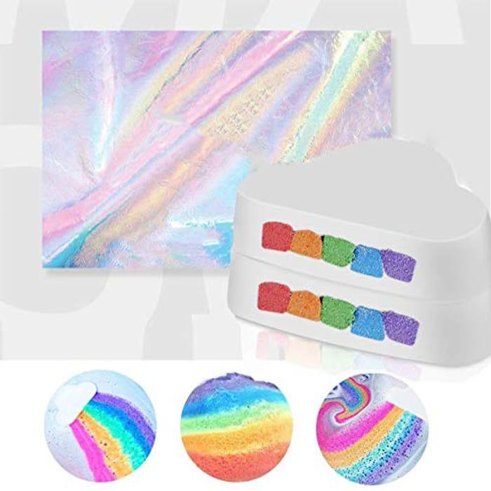 Large Bath Bombs, Organic Handcraft Rainbow Bubble Bath Bomb Gift Set