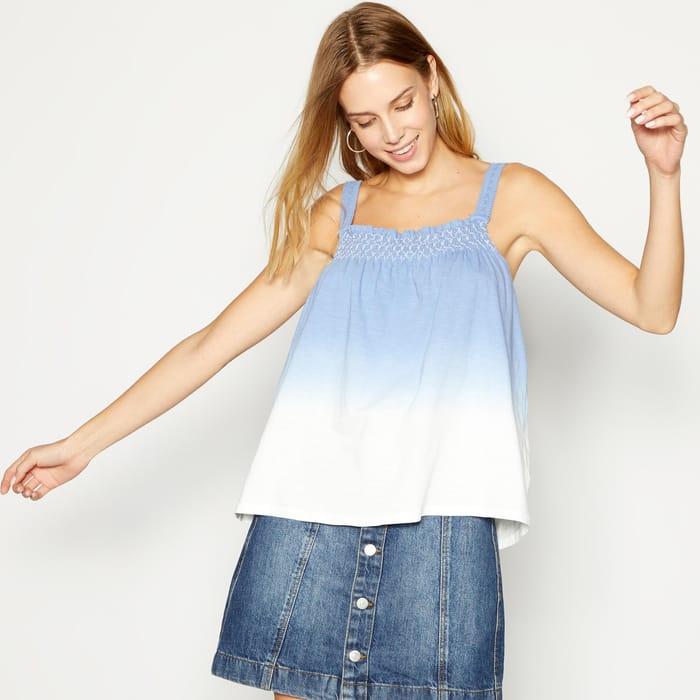 Principles - Blue Ombre Stripe Print Cotton Vest Top
