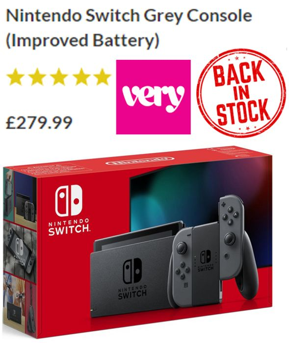 Nintendo Switch Grey Console (With Improved Battery)