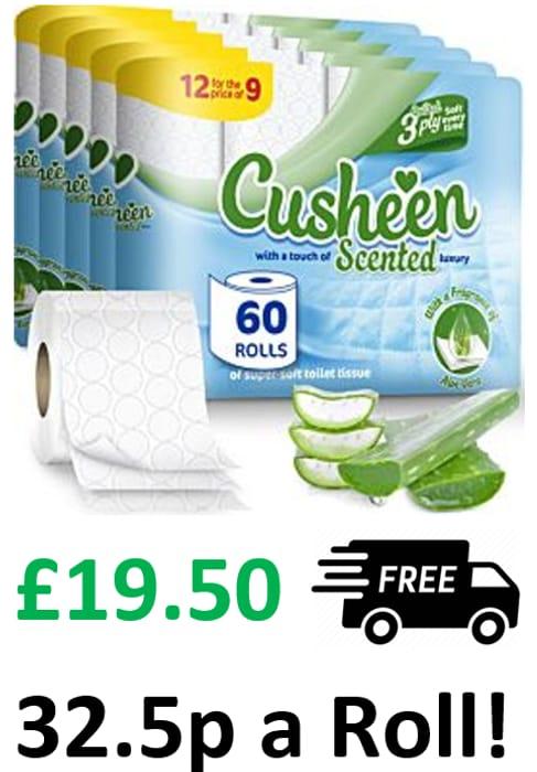60 Cusheen Quilted Luxury 3 Ply Toilet Rolls - ALOE VERA