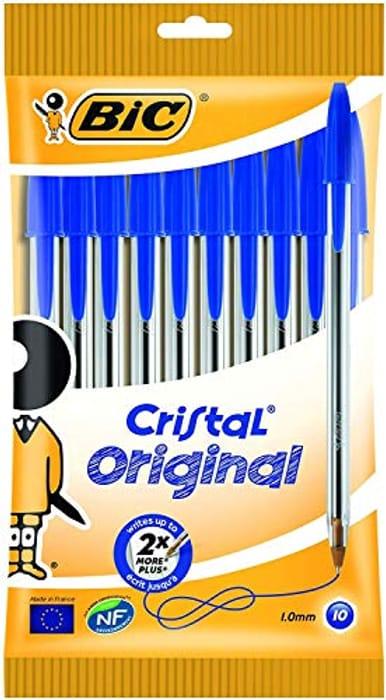 BIC Cristal Original Ballpoint Pens Medium Point (1.0 Mm) - Blue, Pouch of 10