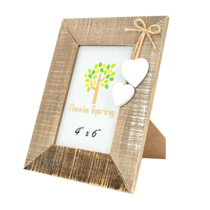 Nicola Spring Wood Picture Frame - 4x6 - Natural with White Hearts