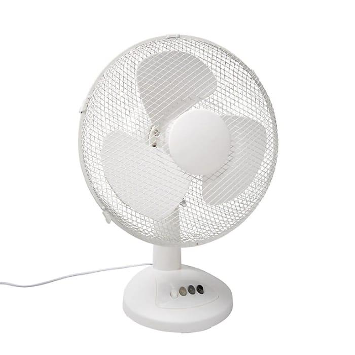 """White 12"""" Desk Fan - 3 Speed"""