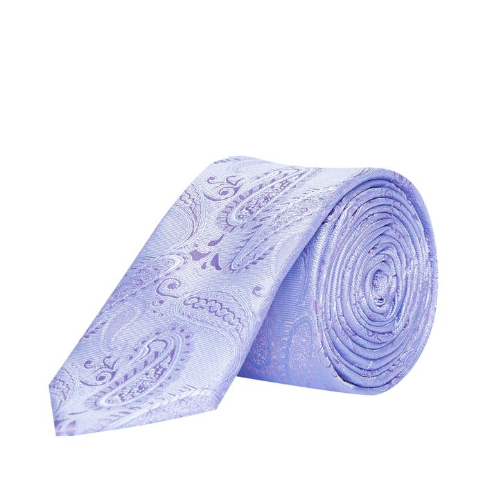 Light Purple Wedding Paisley Tie and Pocket Square Set with a Flower Pin