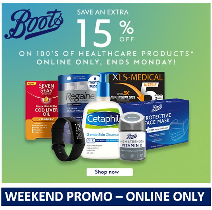 Boots ONLINE EXCLUSIVE. Save Extra 15% on 100's of Healthcare Products