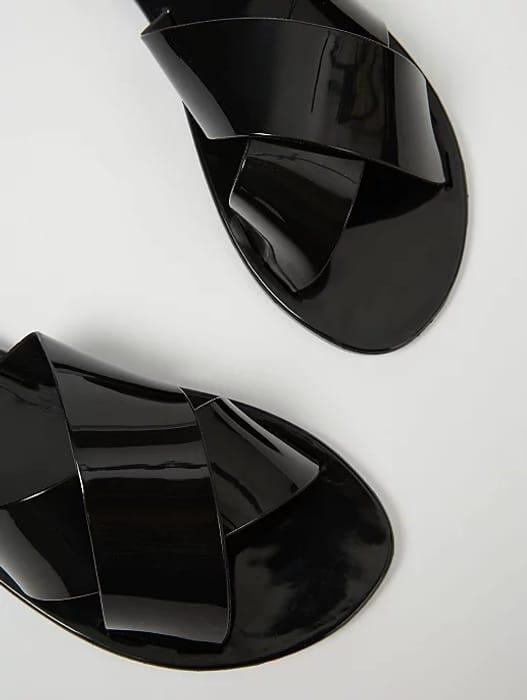Women's Black Jelly Cross Strap Mule Sandals