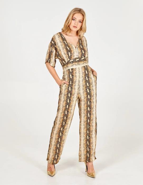 Samara Short Sleeve Gold Snakeskin Jumpsuit