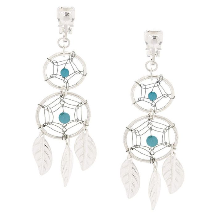 "Silver 2"" Double Dreamcatcher Clip on Drop Earrings - Turquoise"