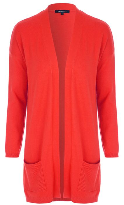 Womens Red Long Sleeve Cardigan