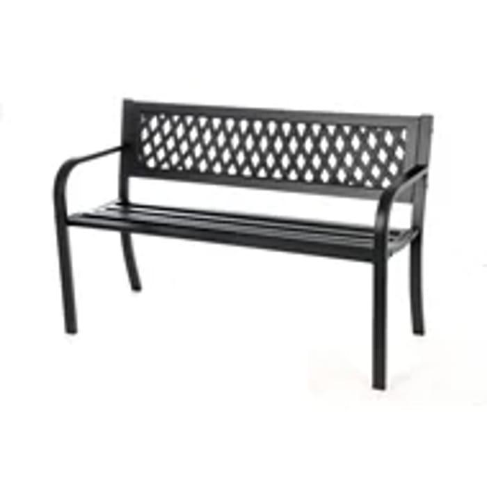 Metal Steel Bench in Black