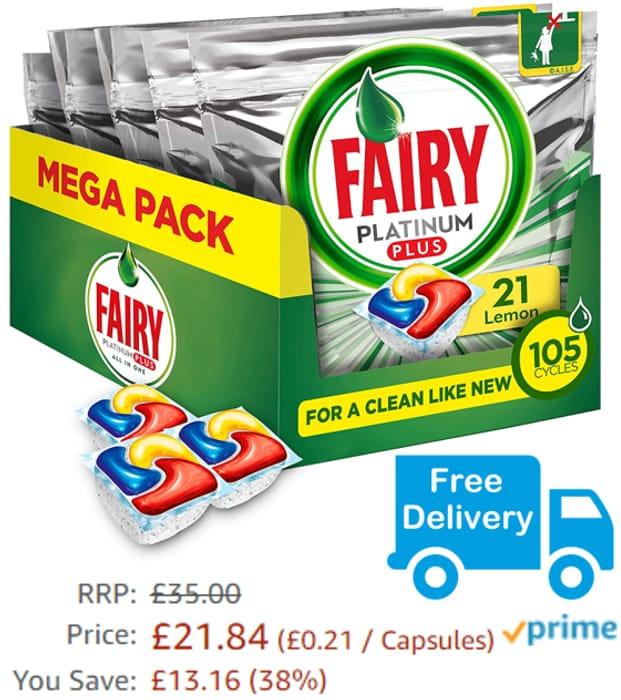 SAVE £13 + Free Delivery - Fairy Platinum Plus Lemon Dishwasher Tablets (105)