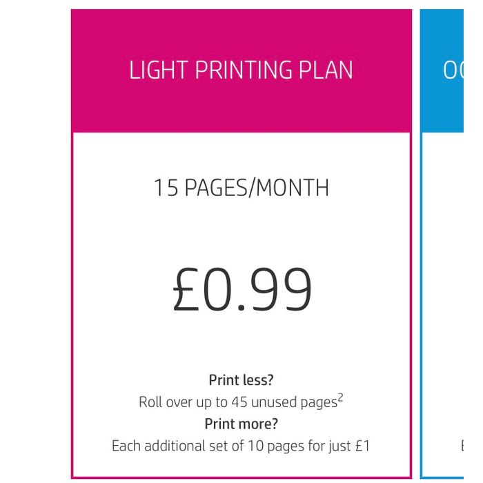 HP Instant Ink - 99p Printing Plan for <15 Pages/month