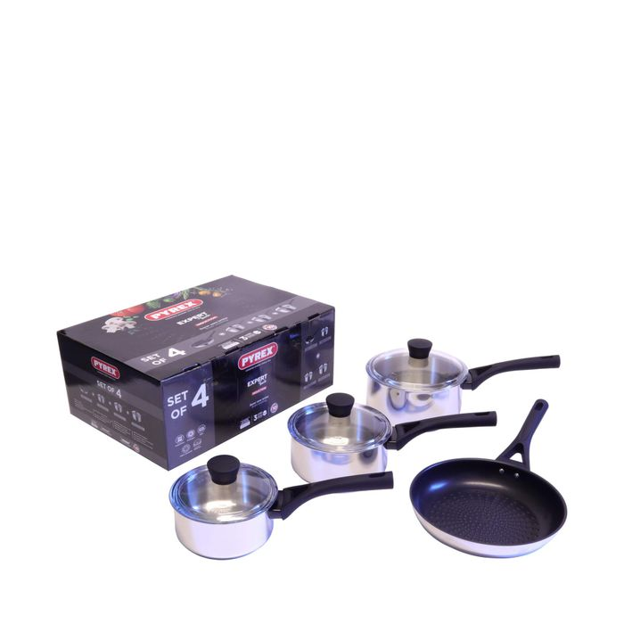 Pyrex-Stainless Steel 4 Piece 'Expert Touch' Induction Pan Set