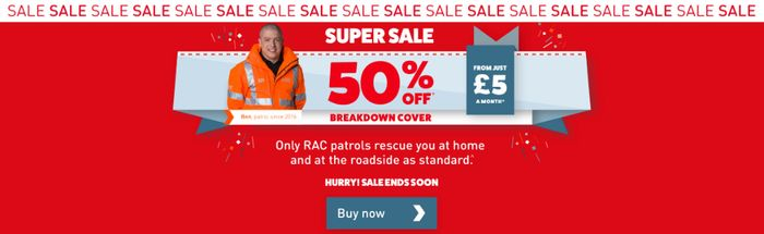 RAC - 50% off Personal Breakdown Cover - Limited Time from £5