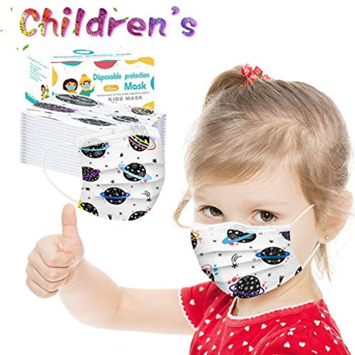 100 Pcs Kids Disposable 3 Layers Face Masks
