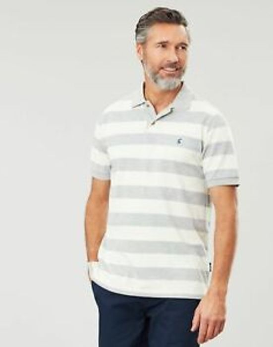 Joules Filbert Striped Polo - GREY CREAM STRIPE