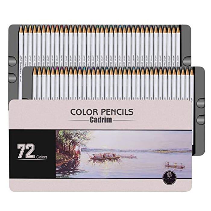 72 Coloured Pencils Set,Cadrim Crayons with Metal Box