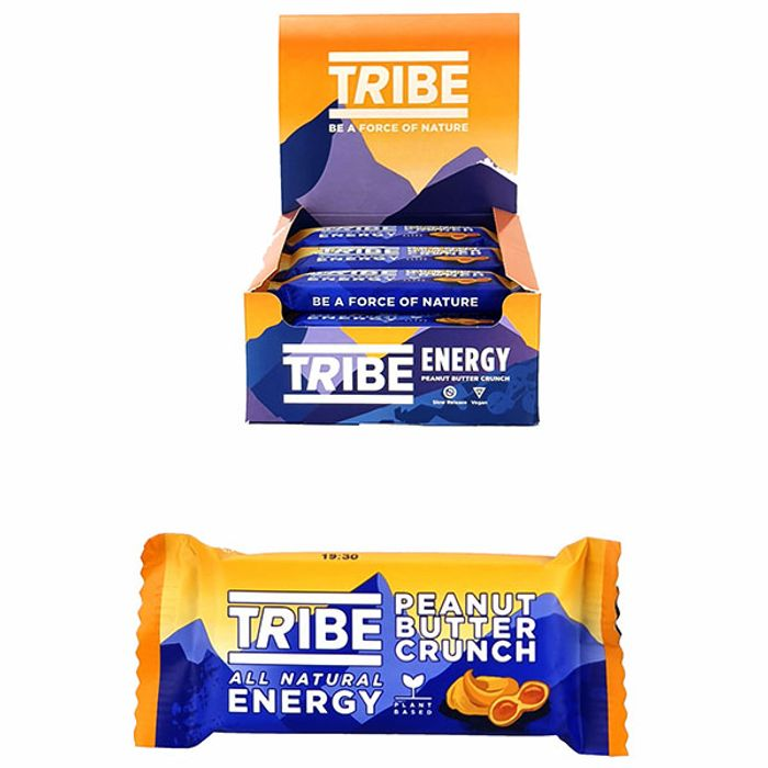 16 X Tribe All Natural Energy Peanut Butter Crunch 50g Bars