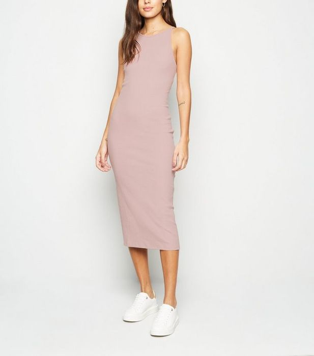 Pink Low Back Ribbed Bodycon Midi Dress