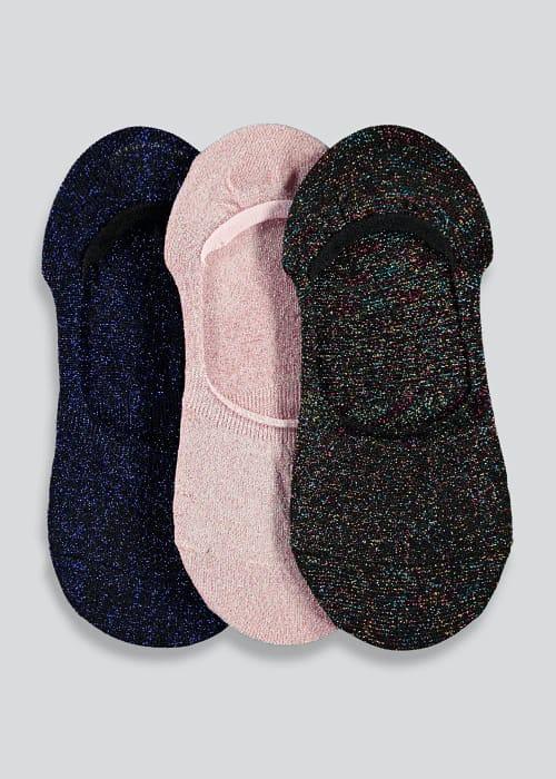 3 Pack Glitter Invisible Socks save £2.50 at Matalan