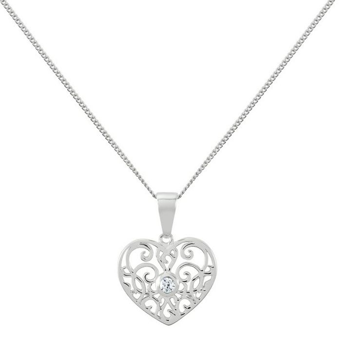 Revere Sterling Silver Filigree Heart Pendant Necklace