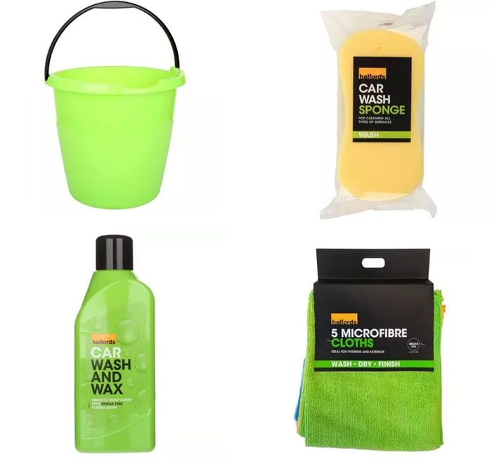 CHEAP! Halfords Car Cleaning Bucket Bundle - 4 Items