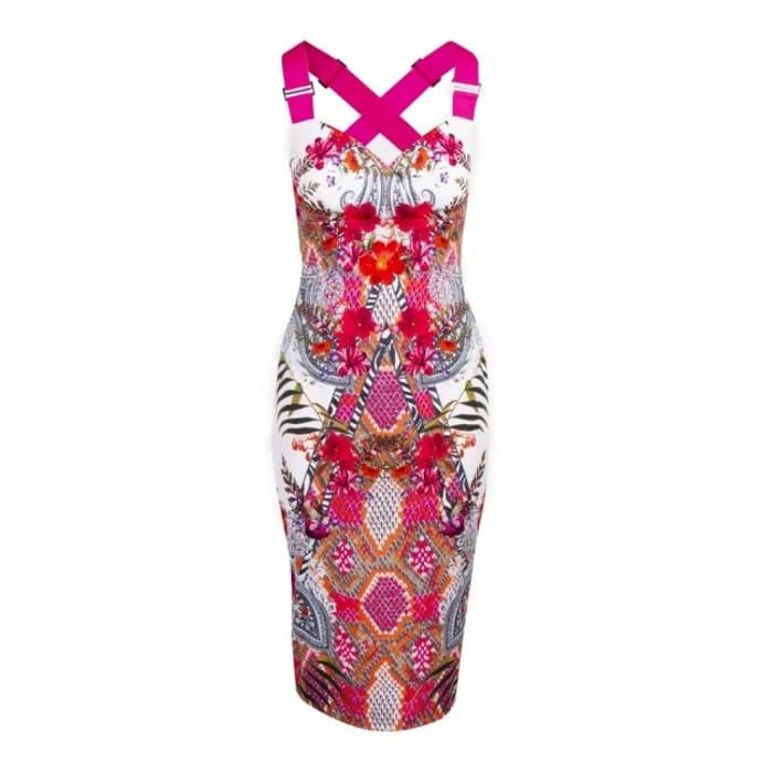 TED BAKER Womens Ivory Kloeey Samba Bodycon Midi Dress